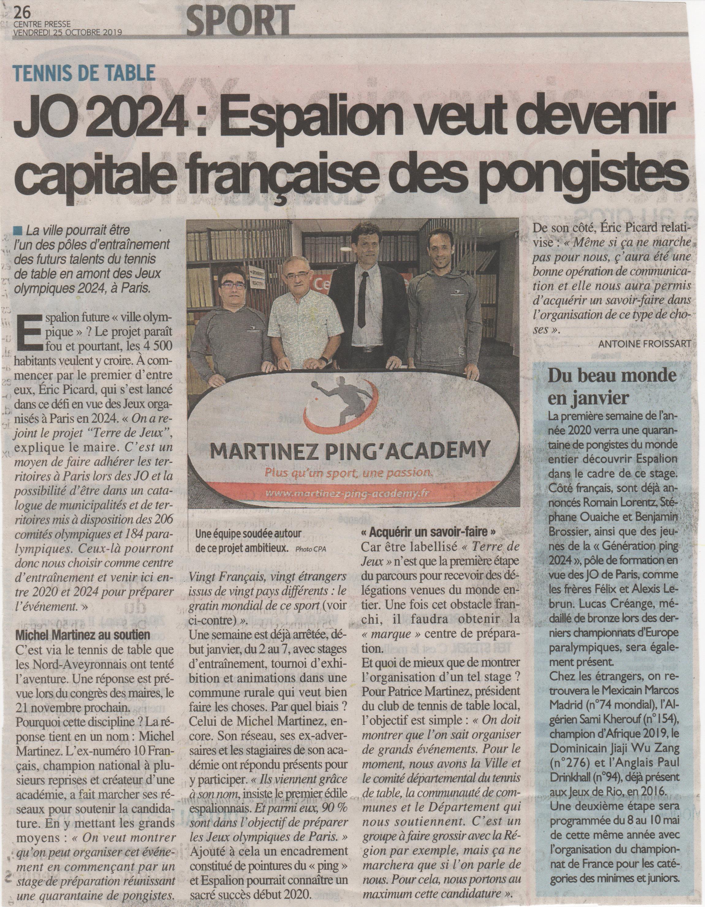 Tennis de table JO 2024 : Espalion veut devenir capitale française des pongistes